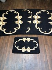 ROMANY GYPSY WASHABLES SETS OF 4 MATS BLACK BEIGE NO SLIP GYPSY RUGS STUNNING